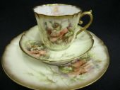 Martial Redon - LIMOGES - tea trio - hand painted